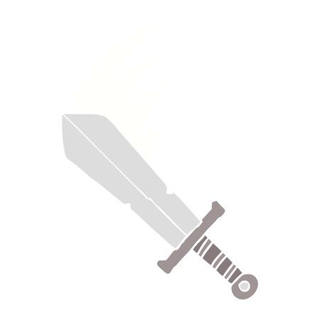 flat color style cartoon swinging sword Ilustração