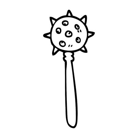 line drawing cartoon medieval mace