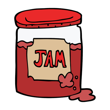 cartoon doodle jam pot 向量圖像