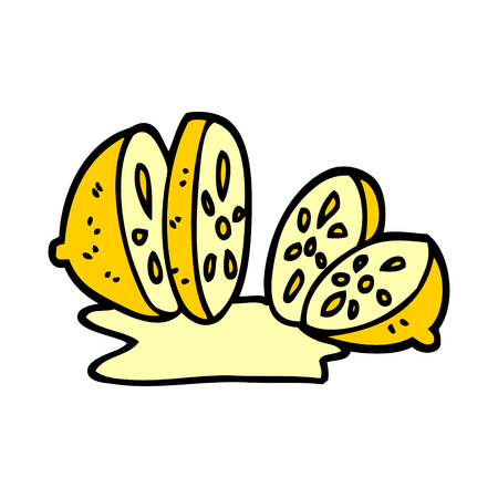 cartoon doodle sliced lemon 스톡 콘텐츠 - 110713886
