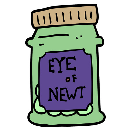 cartoon doodle eye of newt bottle 向量圖像