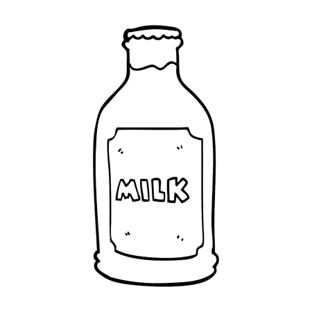 line drawing cartoon milk bottle Stock Illustratie