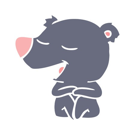 flat color style cartoon bear