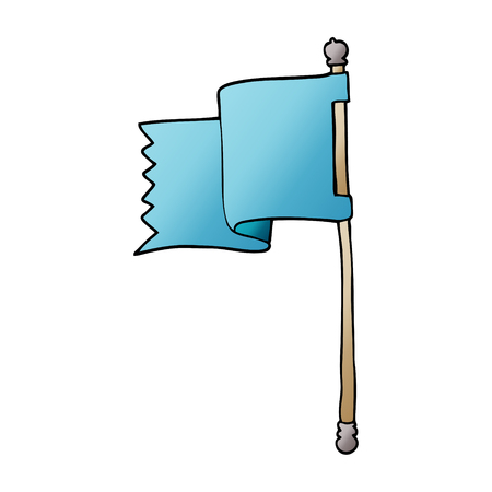 cartoon doodle of a blue flag