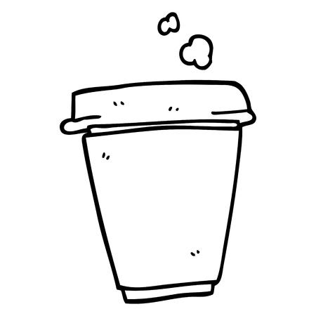 line drawing cartoon coffee cup 일러스트