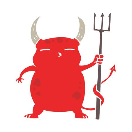 flat color style cartoon little devil