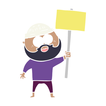 flat color style cartoon bearded man with signpost