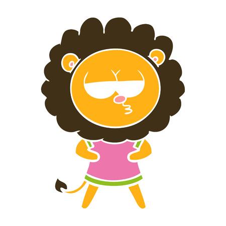 flat color style cartoon bored lion Illustration