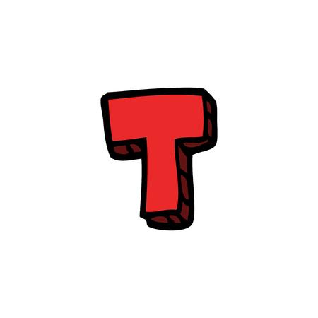 cartoon doodle letter t