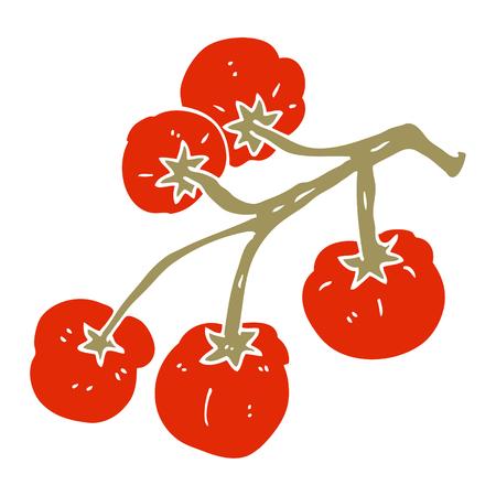 cartoon doodle tomatoes on vine Ilustracja