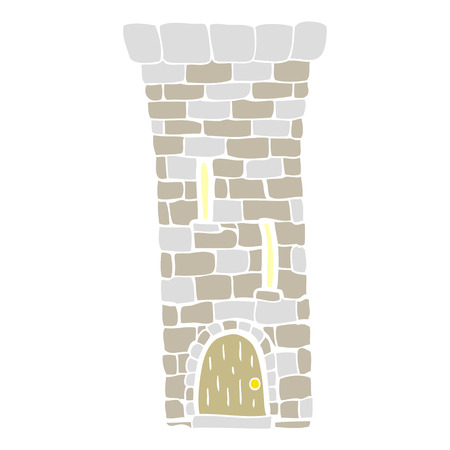 flat color illustration of old castle tower