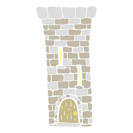 flat color illustration of old castle tower