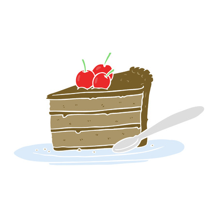 flat color style cartoon chocolate cake