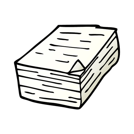 caricatura, garabato, pila, de, papel