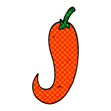 cartoon doodle red hot chilli pepper
