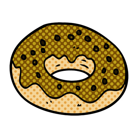 cartoon doodle chocolate donut  イラスト・ベクター素材