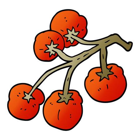 cartoon doodle tomatoes on vine Illustration