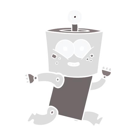 happy flat color style cartoon robot Ilustração