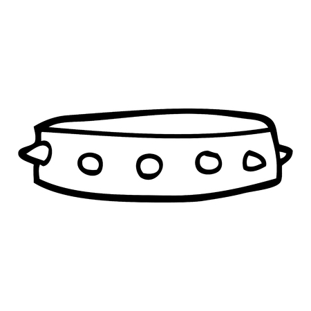 line drawing cartoon spiked dog collar
