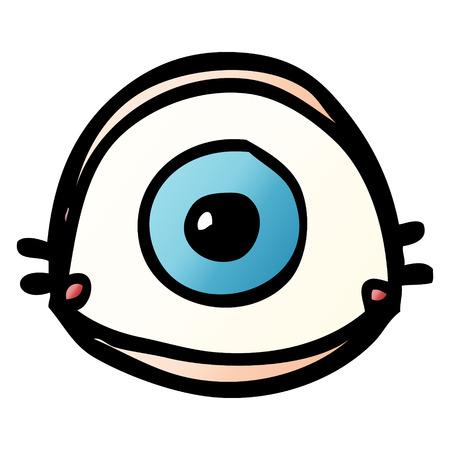 cartoon doodle blue eye