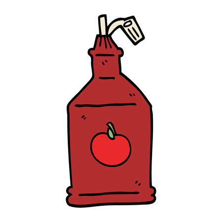 cartoon doodle tomato ketchup 向量圖像