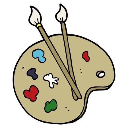 cartoon doodle artist palette