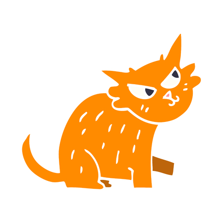 cartoon doodle ginger cat Illustration