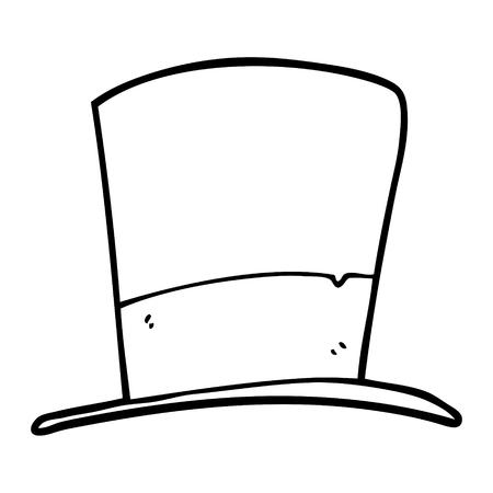 line drawing cartoon top hat Ilustrace