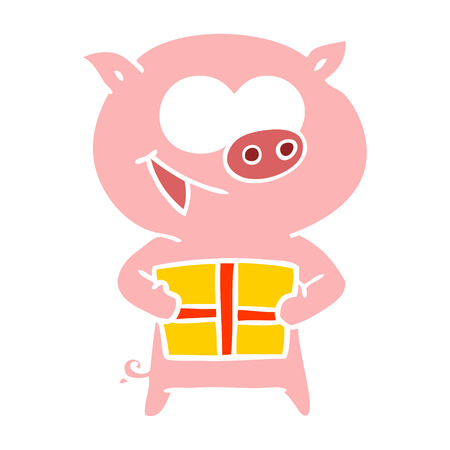 cheerful pig with christmas gift