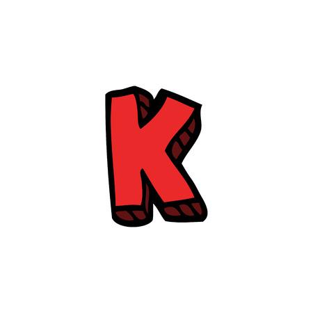 cartoon doodle letter k