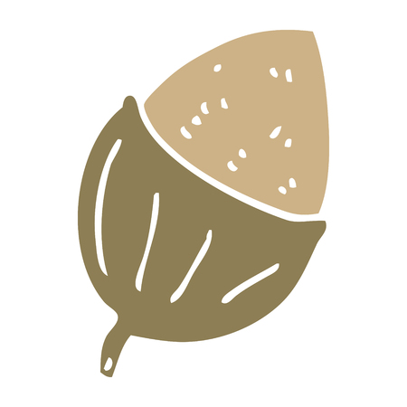 flat color style cartoon acorn Stock Illustratie