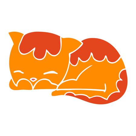 flat color style cartoon cat sleeping Stock Illustratie