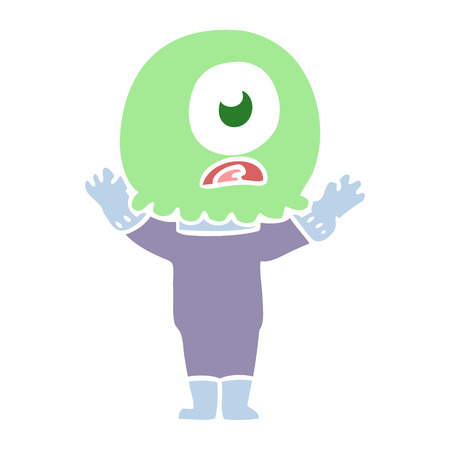 flat color style cartoon cyclops alien spaceman Illustration
