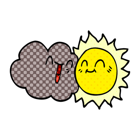 cartoon doodle happy sun and cloud Фото со стока - 110702651