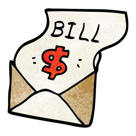cartoon doodle bill in envelope