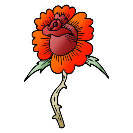 cartoon doodle rose tattoo symbol Stock Vector - 110714896