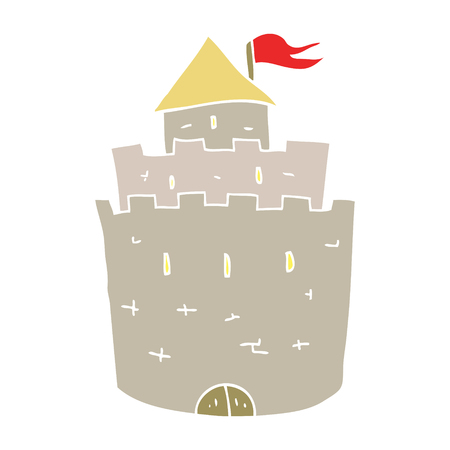 flat color illustration of castle