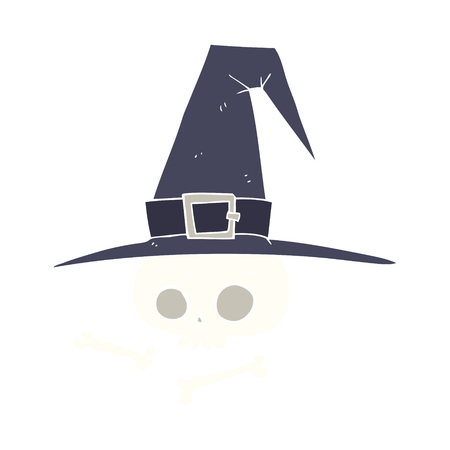 flat color illustration of witch hat with skull