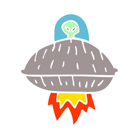 cartoon doodle alien spaceship
