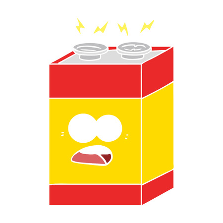 flat color style cartoon shocked battery Stock Illustratie