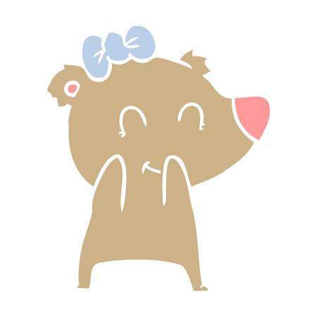 female bear flat color style cartoon