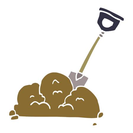cartoon doodle shovel in dirt Illustration