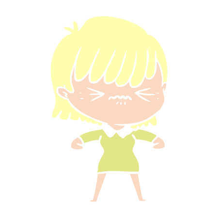 annoyed flat color style cartoon girl