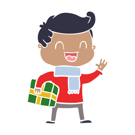flat color style cartoon laughing man holding gift Çizim