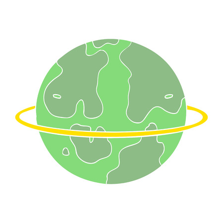 flat color style cartoon alien planet