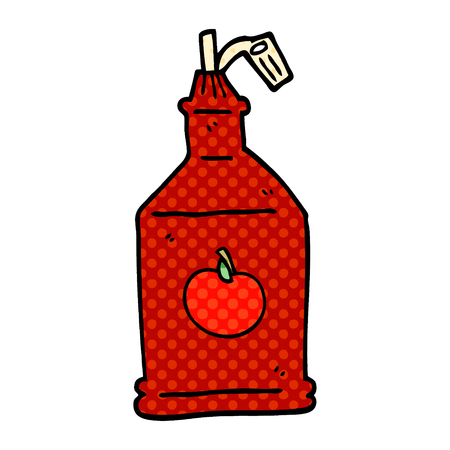 cartoon doodle tomato ketchup Illustration