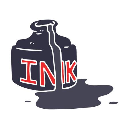 cartoon doodle spilled ink bottle