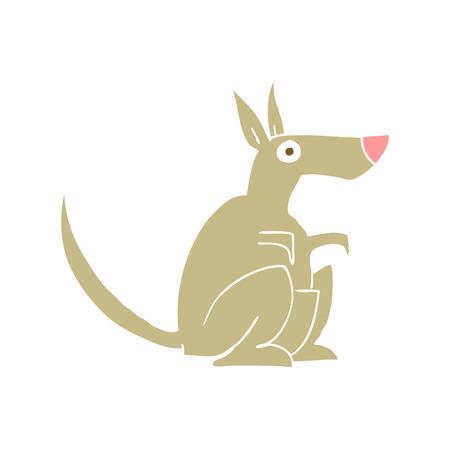 flat color illustration of kangaroo