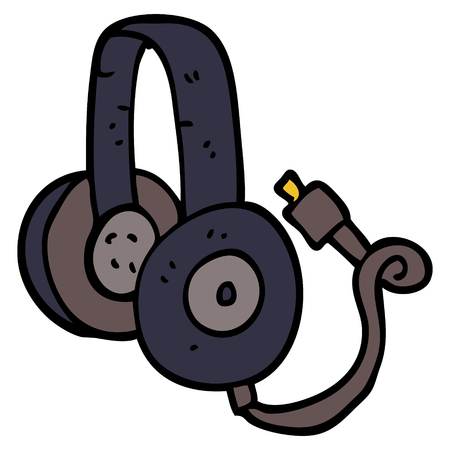 cartoon doodle headphones with wire Illustration