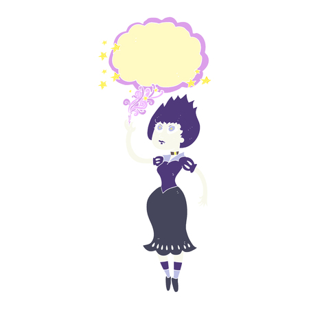 flat color illustration of vampire girl